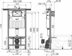 AKCE/SET/ALCAPLAST - Jádromodul - předstěnový instalační systém + tlačítko M1720-1 + WC CERSANIT CLEANON CREA ČTVEREC + SEDÁTKO (AM102/1120 M1720-1 CR2), fotografie 4/9