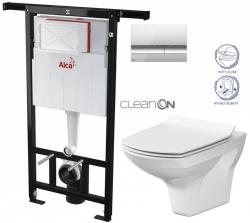 AKCE/SET/ALCAPLAST - SET Jádromodul - předstěnový instalační systém + tlačítko M1721 + WC CERSANIT CLEANON CARINA + SEDÁTKO (AM102/1120 M1721 CA3)