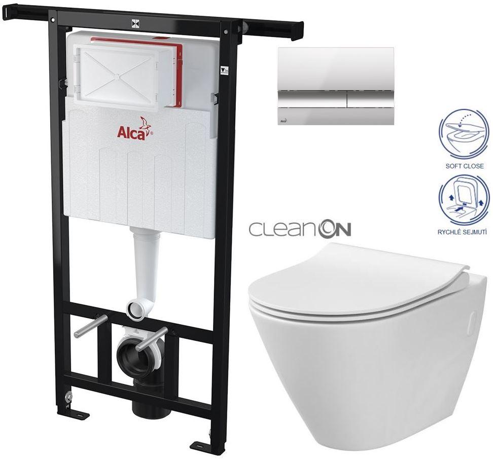 AKCE/SET/ALCAPLAST - Jádromodul - předstěnový instalační systém + tlačítko M1721 + WC CERSANIT CLEANON CITY + SEDÁTKO (AM102/1120 M1721 CI1)