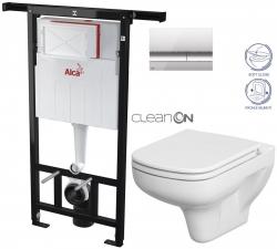 AKCE/SET/ALCAPLAST - SET Jádromodul - předstěnový instalační systém + tlačítko M1721 + WC CERSANIT CLEANON COLOUR + SEDÁTKO (AM102/1120 M1721 CN1)