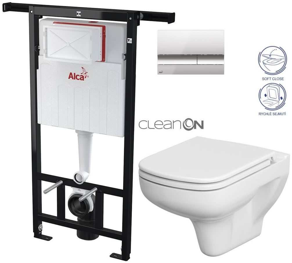 AKCE/SET/ALCAPLAST - Jádromodul - předstěnový instalační systém + tlačítko M1721 + WC CERSANIT CLEANON COLOUR + SEDÁTKO (AM102/1120 M1721 CN1)