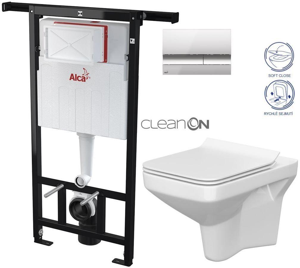 AKCE/SET/ALCAPLAST - SET Jádromodul - předstěnový instalační systém + tlačítko M1721 + WC CERSANIT CLEANON COMO + SEDSÁTKO (AM102/1120 M1721 CO1)
