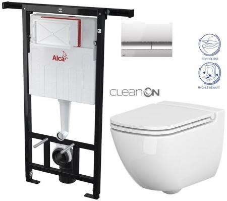 AKCE/SET/ALCAPLAST - Jádromodul - předstěnový instalační systém + tlačítko M1721 + WC CERSANIT CLEANON CASPIA + SEDÁTKO (AM102/1120 M1721 CP1)