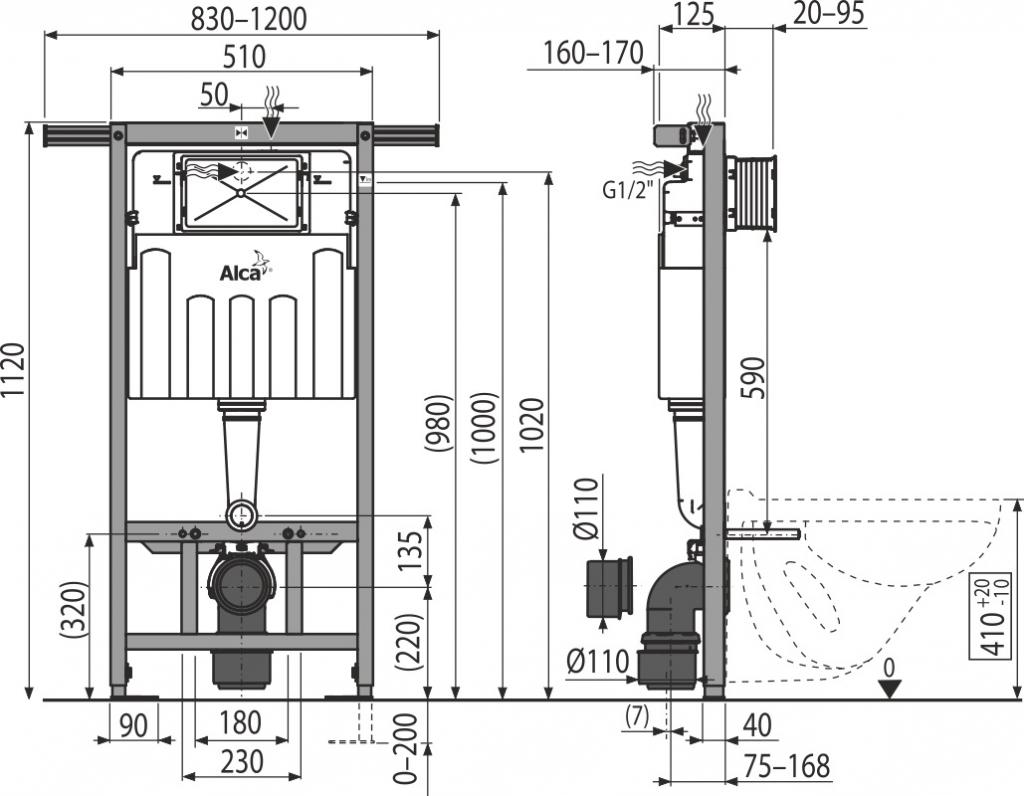 AKCE/SET/ALCAPLAST - Jádromodul - předstěnový instalační systém + tlačítko M1721 + WC CERSANIT CLEANON CASPIA + SEDÁTKO (AM102/1120 M1721 CP1), fotografie 4/9