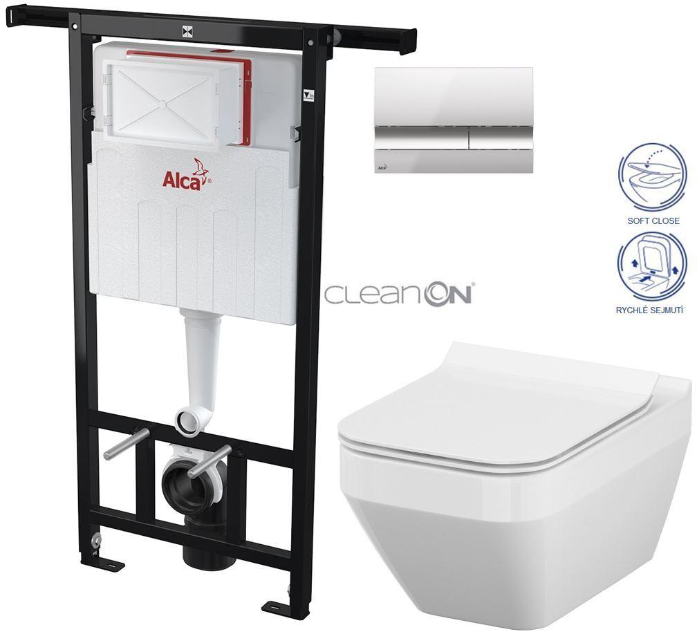 AKCE/SET/ALCAPLAST - Jádromodul - předstěnový instalační systém + tlačítko M1721 + WC CERSANIT CLEANON CREA ČTVEREC + SEDÁTKO (AM102/1120 M1721 CR2)