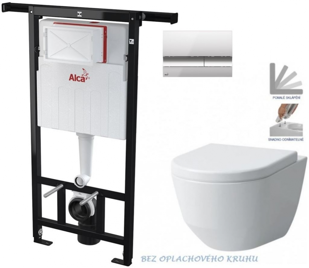 AKCE/SET/ALCAPLAST - Jádromodul - předstěnový instalační systém + tlačítko M1721 + WC LAUFEN PRO RIMLESS + SEDÁTKO (AM102/1120 M1721 LP1)