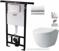 AKCE/SET/ALCAPLAST - SET Jádromodul - předstěnový instalační systém + tlačítko M1721 + WC LAUFEN PRO RIMLESS + SEDÁTKO (AM102/1120 M1721 LP1)