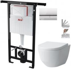AKCE/SET/ALCAPLAST - Jádromodul - předstěnový instalační systém + tlačítko M1721 + WC LAUFEN PRO + SEDÁTKO (AM102/1120 M1721 LP3)