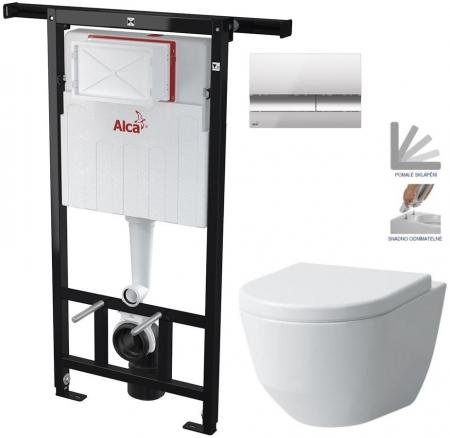 AKCE/SET/ALCAPLAST - SET Jádromodul - předstěnový instalační systém + tlačítko M1721 + WC LAUFEN PRO + SEDÁTKO (AM102/1120 M1721 LP3)