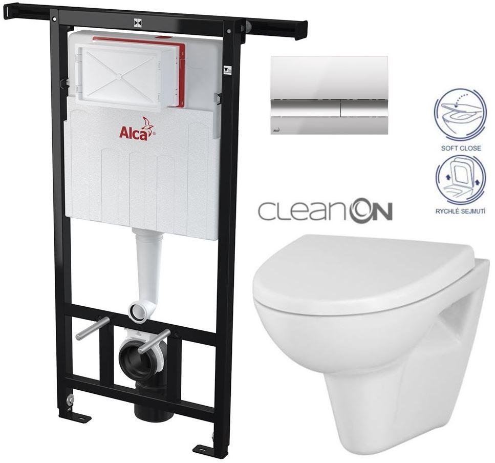 AKCE/SET/ALCAPLAST - Jádromodul - předstěnový instalační systém + tlačítko M1721 + WC CERSANIT CLEANON PARVA + SEDÁTKO (AM102/1120 M1721 PA1)