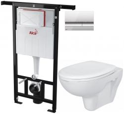 SET Jádromodul - předstěnový instalační systém + tlačítko M1721 + WC CERSANIT PRESIDENT + SEDÁTKO (AM102/1120 M1721 PR1) - AKCE/SET/ALCAPLAST