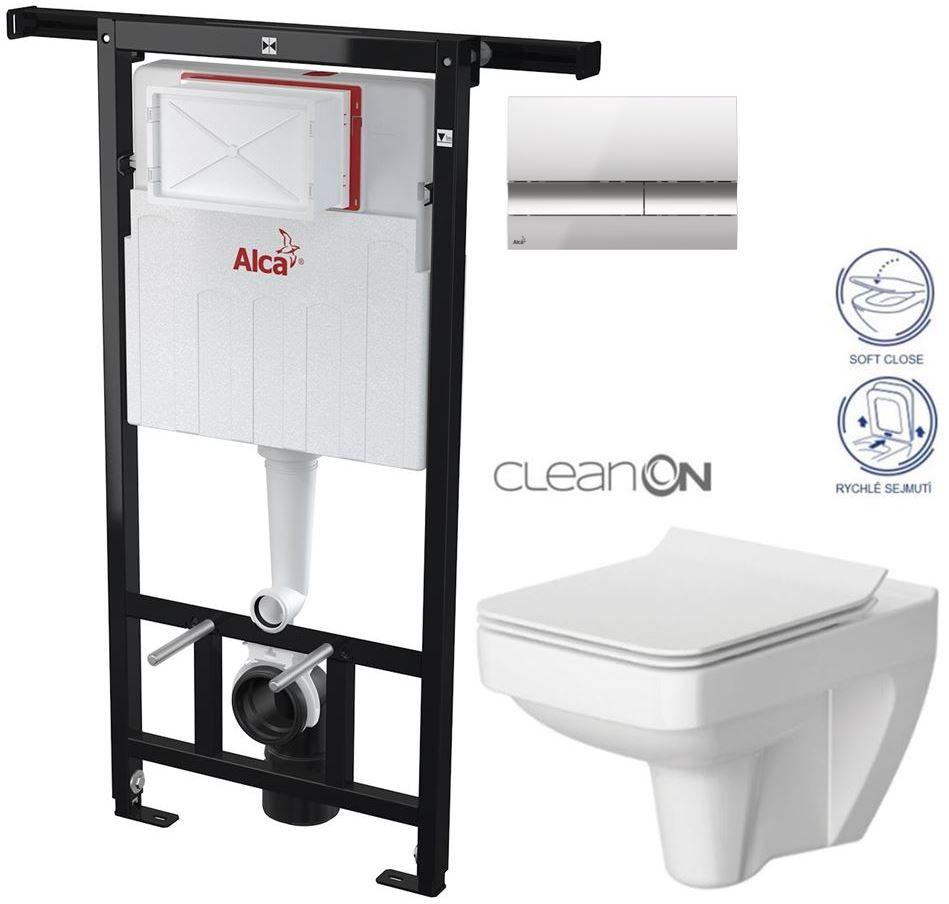 AKCE/SET/ALCAPLAST - Jádromodul - předstěnový instalační systém + tlačítko M1721 + WC CERSANIT CLEANON SPLENDOUR + SEDÁTKO (AM102/1120 M1721 SP1)