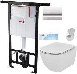 AKCE/SET/ALCAPLAST - Jádromodul - předstěnový instalační systém + tlačítko M1721 + WC TESI se sedátkem SoftClose, AquaBlade (AM102/1120 M1721 TE1)