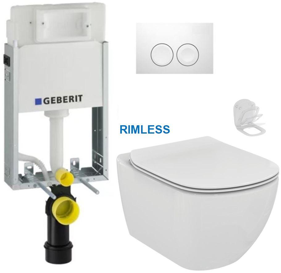 AKCE/SET/GEBERIT - KOMBIFIXBasic včetně ovládacího tlačítka DELTA 21 Bílé pro závěsné WC TESI RIMLESS (110.100.00.1 21BI TE2)