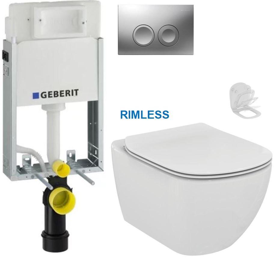GEBERIT KOMBIFIXBasic vč. matného tlačítka DELTA 21 + WC Ideal Standard Tesi se sedátkem RIMLESS 110