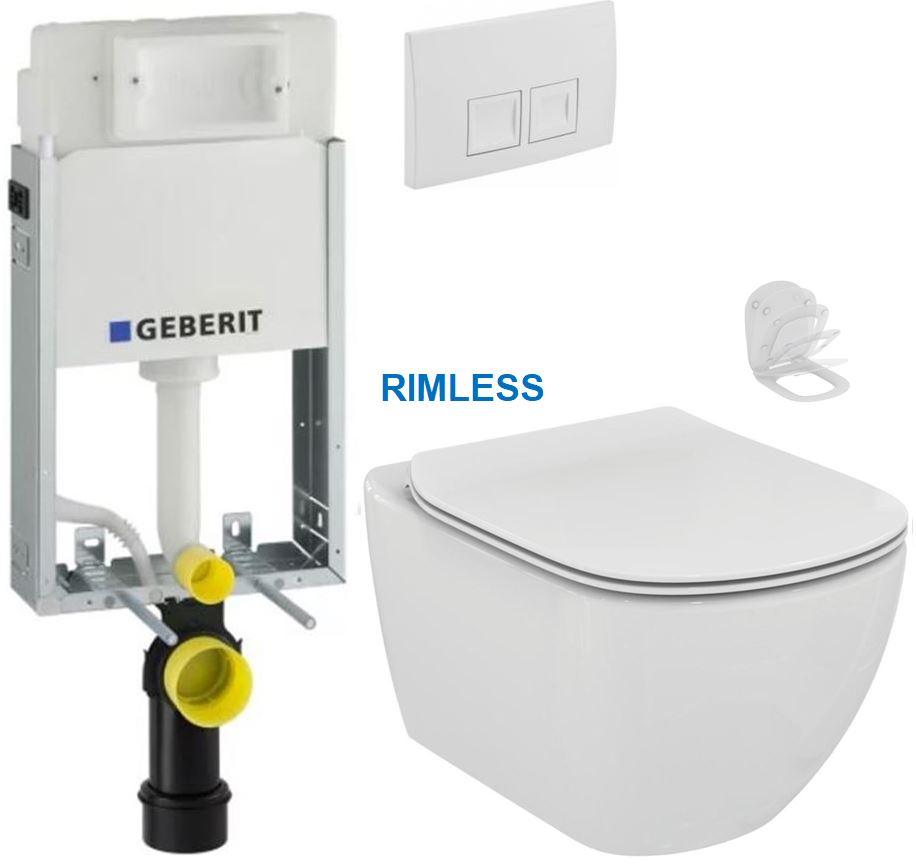 AKCE/SET/GEBERIT - KOMBIFIXBasic včetně ovládacího tlačítka DELTA 50 Bílé pro závěsné WC TESI RIMLESS (110.100.00.1 50BI TE2)