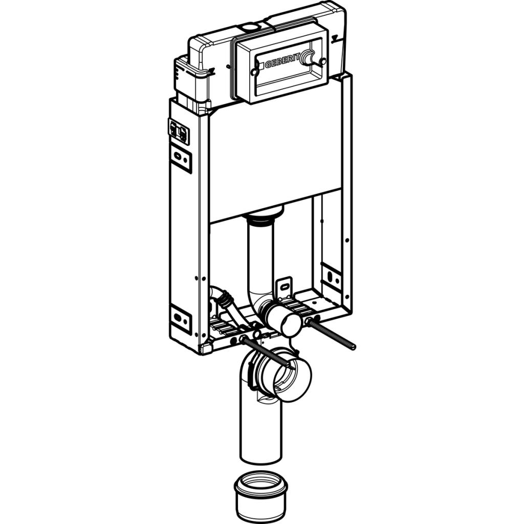 AKCE/SET/GEBERIT - KOMBIFIXBasic včetně ovládacího tlačítka DELTA 50 Bílé pro závěsné WC TESI RIMLESS (110.100.00.1 50BI TE2), fotografie 6/11