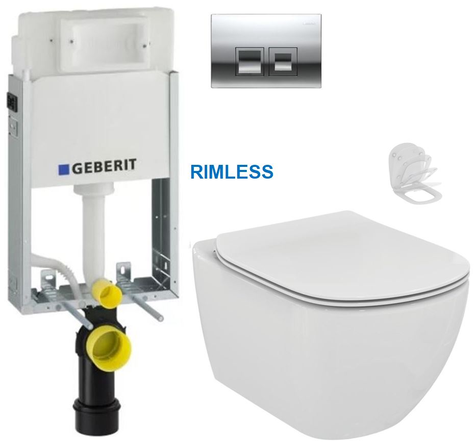 AKCE/SET/GEBERIT - GEBERIT - KOMBIFIXBasic včetně ovládacího tlačítka DELTA 50 CR pro závěsné WC TESI RIMLESS (110.100.00.1 50CR TE2)