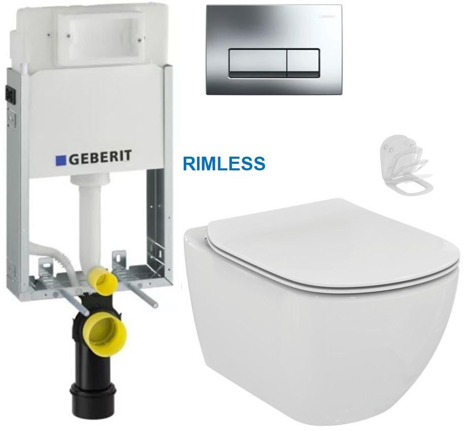 AKCE/SET/GEBERIT - GEBERIT - KOMBIFIXBasic včetně ovládacího tlačítka DELTA 51 CR pro závěsné WC TESI RIMLESS (110.100.00.1 51CR TE2)