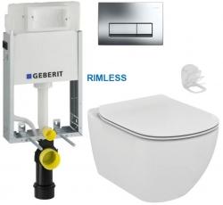 AKCE/SET/GEBERIT - SET KOMBIFIXBasic včetně ovládacího tlačítka DELTA 51 CR pro závěsné WC TESI RIMLESS (110.100.00.1 51CR TE2)