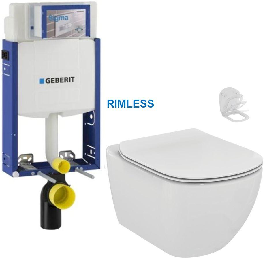 AKCE/SET/GEBERIT Kombifix KOMBIFIX ECO pro závěsné WC, nádržka UP 320 bez Ovládací desky + WC TESI RIMLESS 110.302.00.5 TE2