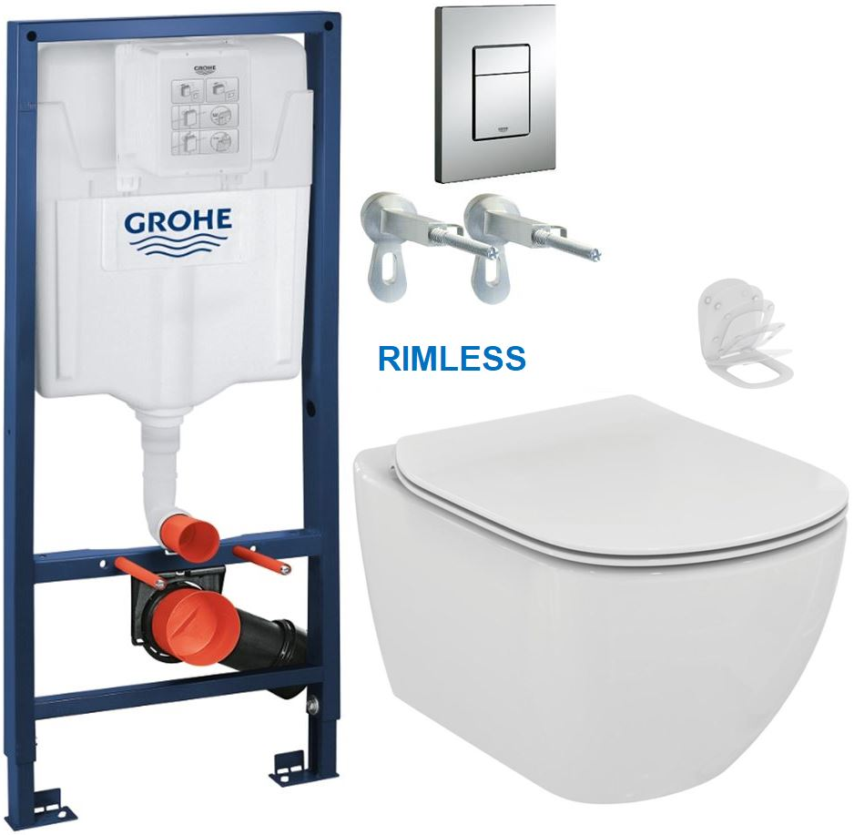 AKCE/SET/GROHE - GROHE -Rapid SL Rapid SL pro závěsné WC 38528SET + WC TESI RIMLESS (38772001 TE2)