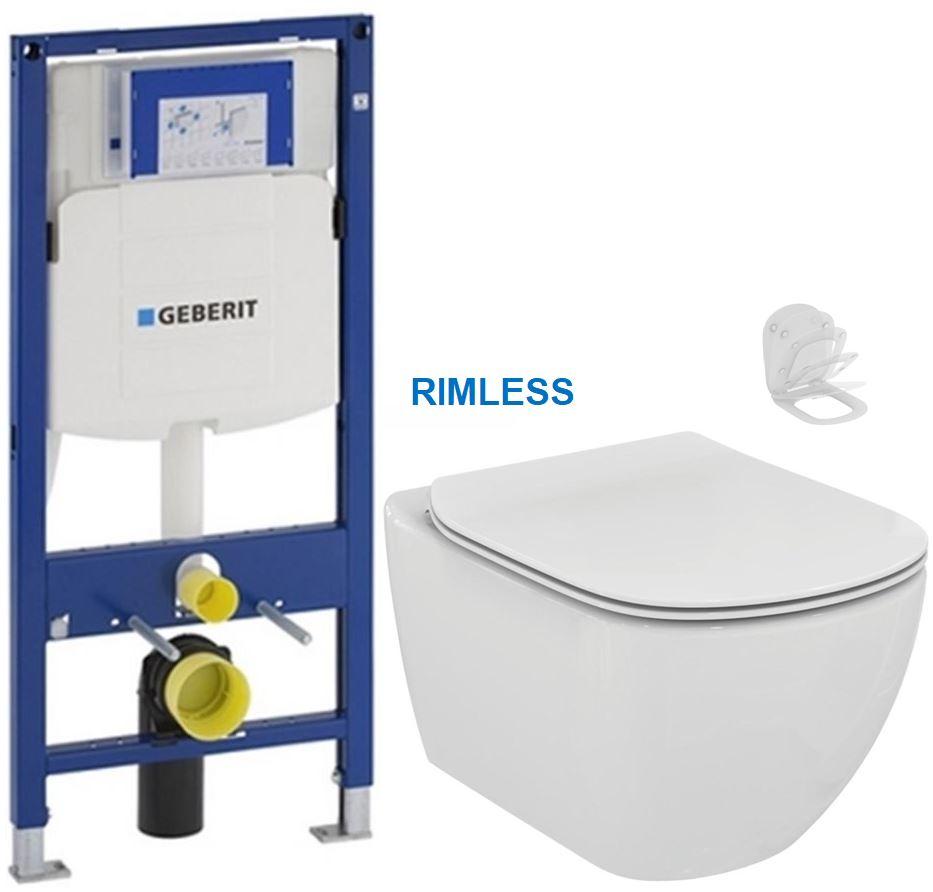 AKCE/SET/GEBERIT - Duofix pro závěsné WC 111.300.00.5 bez ovládací desky + WC TESI RIMLESS (111.300.00.5 TE2)