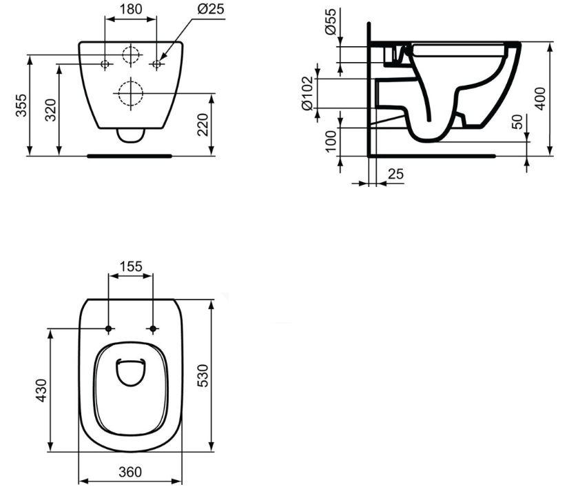 AKCE/SET/GEBERIT - Duofix Sada pro závěsné WC 458.103.00.1 + tlačítko DELTA21 bílé + WC TESI RIMLESS (458.103.00.1 21BI TE2), fotografie 20/10