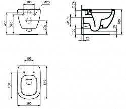 AKCE/SET/GEBERIT - Duofix Sada pro závěsné WC 458.103.00.1 + tlačítko DELTA50 bílé + WC TESI RIMLESS (458.103.00.1 50BI TE2), fotografie 20/10
