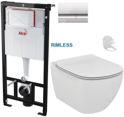 ALCAPLAST  Sádromodul - předstěnový instalační systém s chromovým tlačítkem M1721 + WC Ideal Standard Tesi se sedátkem RIMLESS (AM101/1120 M1721 TE2)