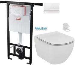 SET Jádromodul - předstěnový instalační systém + tlačítko M1710 + WC TESI RIMLESS (AM102/1120 M1710 TE2) - AKCE/SET/ALCAPLAST