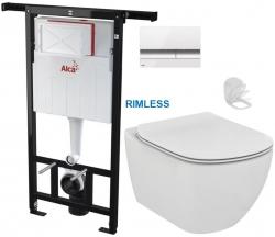 SET Jádromodul - předstěnový instalační systém + tlačítko M1720-1 + WC TESI RIMLESS (AM102/1120 M1720-1 TE2) - AKCE/SET/ALCAPLAST