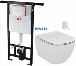 ALCAPLAST  Jádromodul - předstěnový instalační systém bez tlačítka + WC Ideal Standard Tesi se sedátkem RIMLESS (AM102/1120 X TE2)
