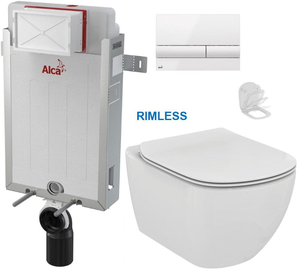 ALCAPLAST Renovmodul předstěnový instalační systém s bílým tlačítkem M1710 + WC Ideal Standard Tesi se sedátkem RIMLESS AM115/1000 M1710 TE2