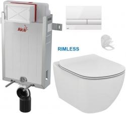 ALCAPLAST  Renovmodul - předstěnový instalační systém s bílým tlačítkem M1710 + WC Ideal Standard Tesi se sedátkem RIMLESS (AM115/1000 M1710 TE2)