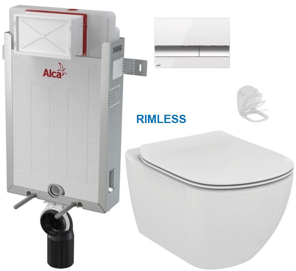 ALCAPLAST Renovmodul předstěnový instalační systém s bílým/ chrom tlačítkem M1720-1 + WC Ideal Standard Tesi se sedátkem RIMLESS AM115/1000 M1720-1 TE2