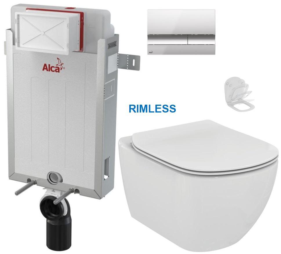 ALCAPLAST Renovmodul předstěnový instalační systém s chromovým tlačítkem M1721 + WC Ideal Standard Tesi se sedátkem RIMLESS AM115/1000 M1721 TE2