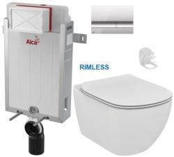 ALCAPLAST  Renovmodul - předstěnový instalační systém s chromovým tlačítkem M1721 + WC Ideal Standard Tesi se sedátkem RIMLESS (AM115/1000 M1721 TE2)