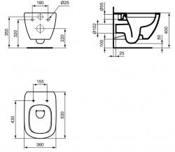 AKCE/SET/LAUFEN - Rámový podomítkový modul CW1  SET BÍLÁ + ovládací tlačítko BÍLÉ + WC TESI RIMLESS (H8946600000001BI TE2), fotografie 18/9