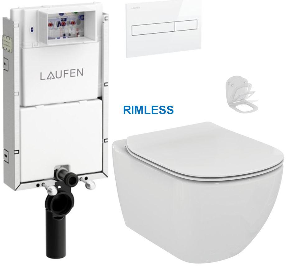 AKCE/SET/LAUFEN - Podomít. systém LIS TW1 SET BÍLÁ + ovládací tlačítko BÍLÉ + WC TESI RIMLESS (H8946630000001BI TE2)