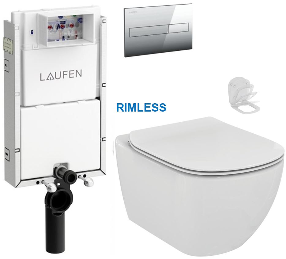 AKCE/SET/LAUFEN - Podomít. systém LIS TW1 SET + ovládací tlačítko CHROM + WC TESI RIMLESS (H8946630000001CR TE2)