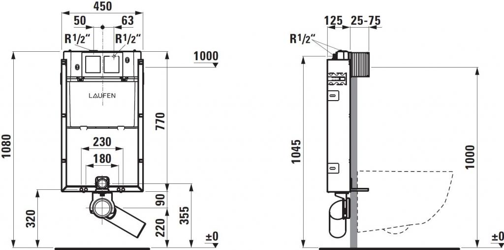 AKCE/SET/LAUFEN - Podomít. systém LIS TW1 SET + ovládací tlačítko CHROM + WC TESI RIMLESS (H8946630000001CR TE2), fotografie 10/9