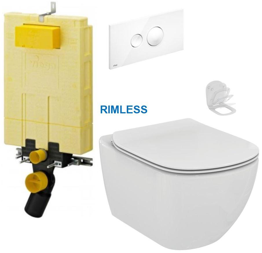 AKCE/SET/VIEGA - MONO modul WC čelní ovládání + ovládací tlačítko BÍLÉ + WC TESI RIMLESS (V606732BI TE2)