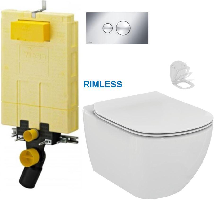 AKCE/SET/VIEGA - MONO modul WC čelní ovládání + ovládací tlačítko CHROM + WC TESI RIMLESS (V606732CR TE2)
