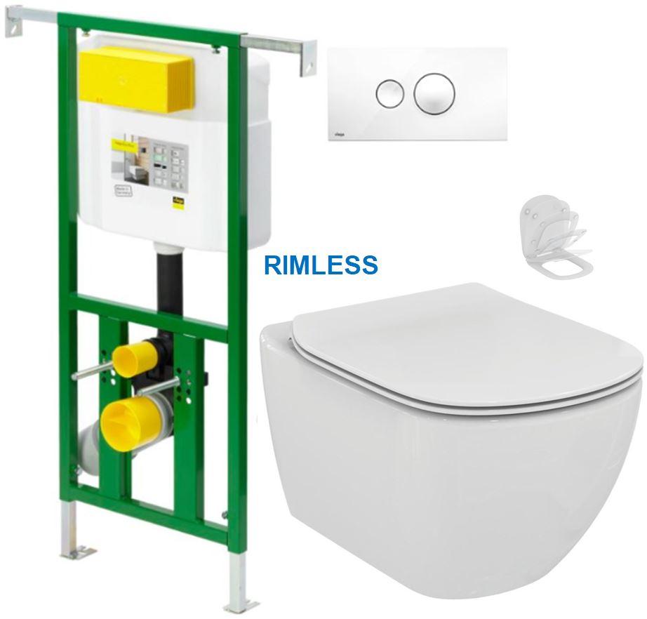 AKCE/SET/VIEGA - Eko PLUS modul do jádra WC čelní ovládání  SET BÍLÉ + ovládací tlačítko BÍLÉ + WC TESI RIMLESS (V622176BI TE2)