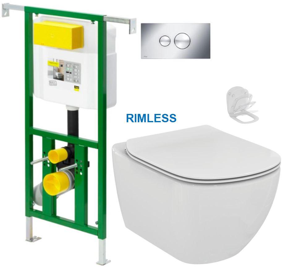 AKCE/SET/VIEGA - Eko PLUS modul do jádra WC čelní ovládání  SET CHROM + ovládací tlačítko CHROM + WC TESI RIMLESS (V622176CR TE2)
