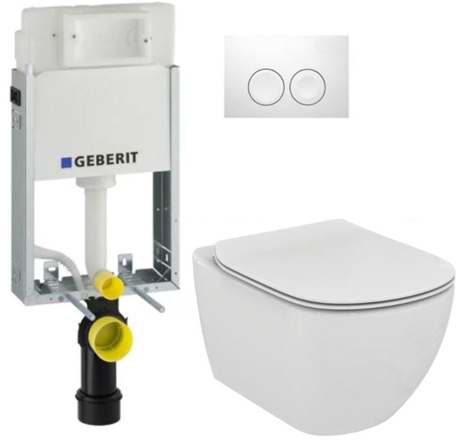 AKCE/SET/GEBERIT - KOMBIFIXBasic včetně ovládacího tlačítka DELTA 21 Bílé pro závěsné WC TESI (110.100.00.1 21BI TE3)