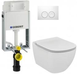 AKCE/SET/GEBERIT - SET KOMBIFIXBasic včetně ovládacího tlačítka DELTA 21 Bílé pro závěsné WC TESI (110.100.00.1 21BI TE3)
