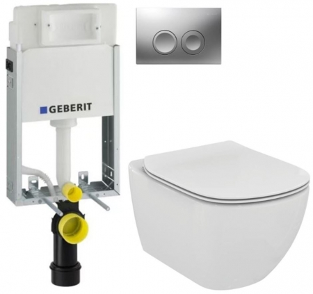 GEBERIT KOMBIFIXBasic vč. matného tlačítka DELTA 21 + WC Ideal Standard Tesi se sedátkem (110.100.00.1 21MA TE3)
