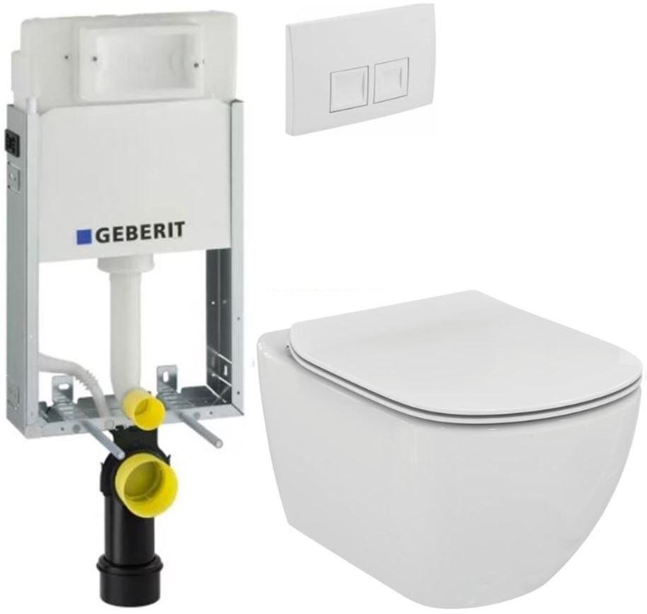 AKCE/SET/GEBERIT - KOMBIFIXBasic včetně ovládacího tlačítka DELTA 50 Bílé pro závěsné WC TESI (110.100.00.1 50BI TE3)